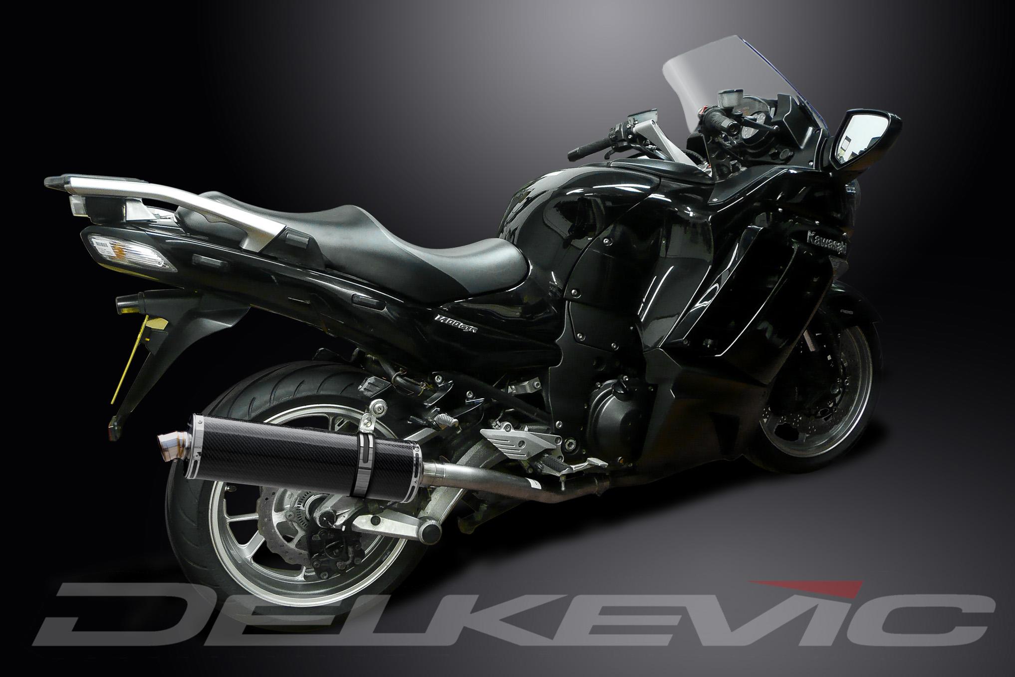 "kawasaki concours 14 gtr1400 18"" carbon oval muffler exhaust"