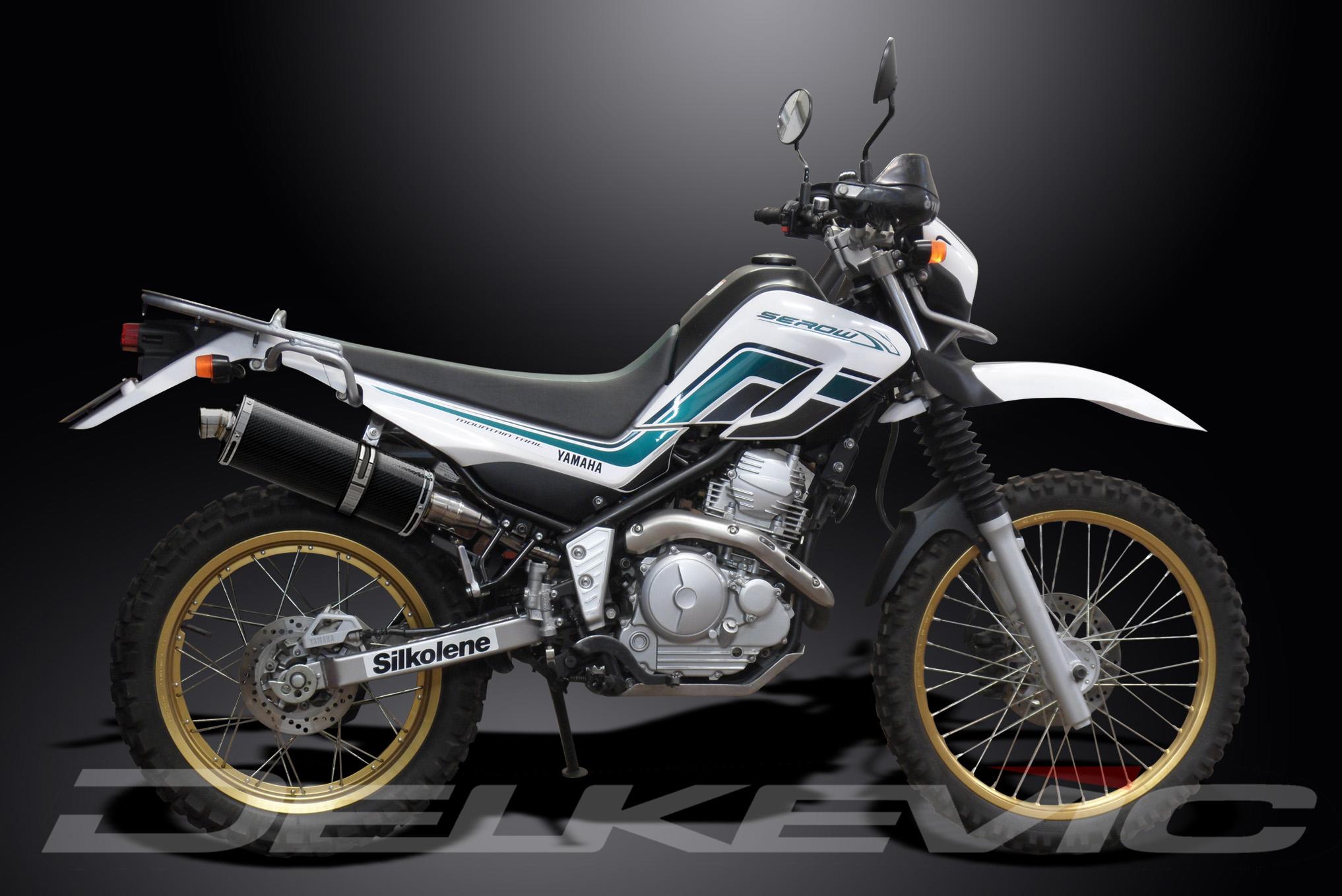 Silencieux-Pot-Echappement-350mm-Ovale-Fibre-Carbone-Yamaha-XT250-Serow-08-16